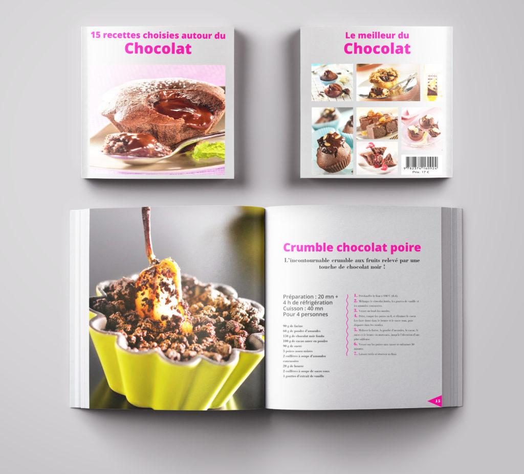 Réalisation d'un livre de recette de gâteau au chocolat. La couleur rose pour le côté tendre du chocolat.
