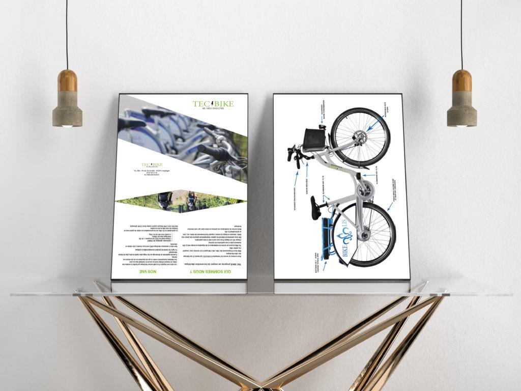 """Après le logo, j'ai réalisé le dépliant de TEC BIKE. Vous y trouverez la présentation de l'entreprise et le vélo qu'il propose pour la ville de senlis """"BIKE LIS"""". Une particularité de leur service est de personnaliser les vélos selon les villes."""