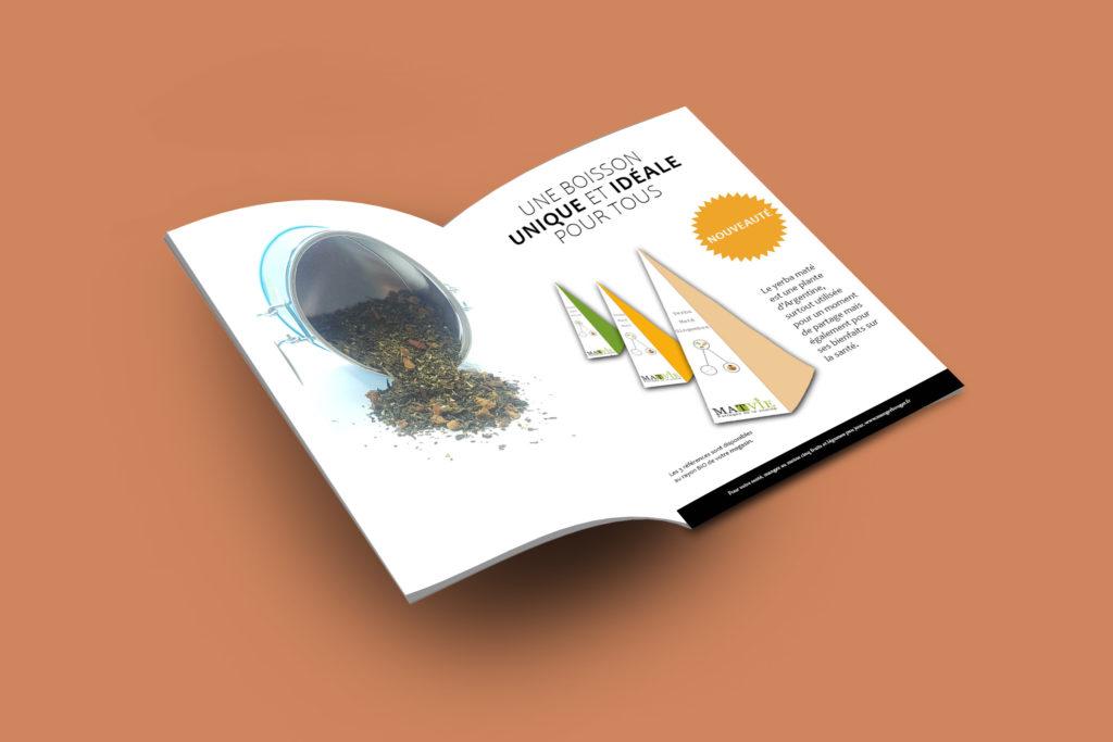 Présentation de l'annonce presse concernant le yerba maté. Une typo simple pour tout public et les couleurs utilisées rappellent celles du packaging.