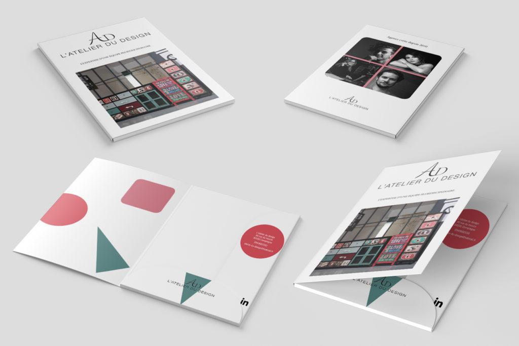 Réalisation d'une pochette à rabat qui donne suite au logo, au livre et à la maquette WEB de l'atelier du design.