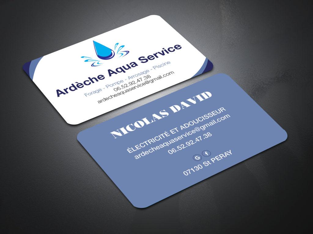 J'ai du refaire la carte de visite pour la société Ardèche Aqua Service. Le logo m'a été donné par le client donc j'ai choisie les couleurs et les typos en fonction de celui ci et de l'activité de l'entreprise.