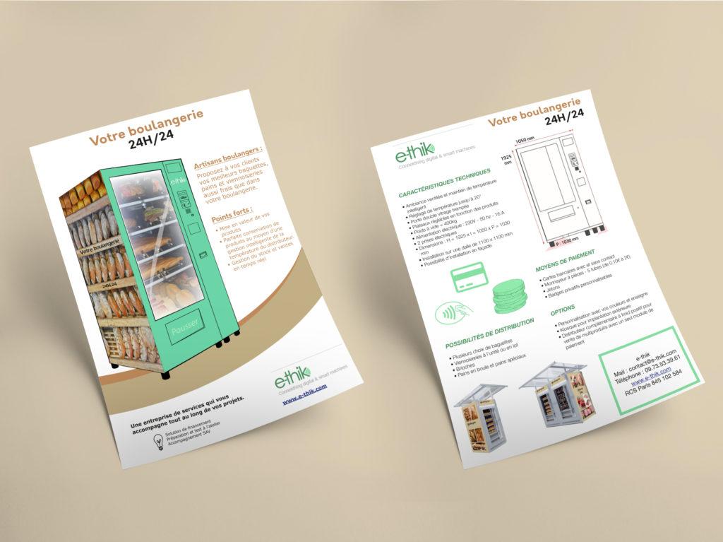 Réalisation d'un flyer pour la société E-thik. Les couleurs utilisées sont en rapport avec les produits vendus et le logo.