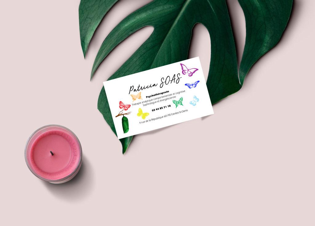 """J'ai réalisé une carte de visite pour une psychothérapeute """"Patricia SOAS"""". Le design et les couleurs représentent la liberté et les 7 chakras."""