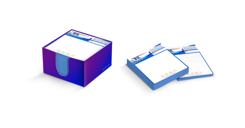 J'ai réalisé des blocs notes pour l'entreprise Decleck en fonction d'un rough du client. 7,5x7,5 cm