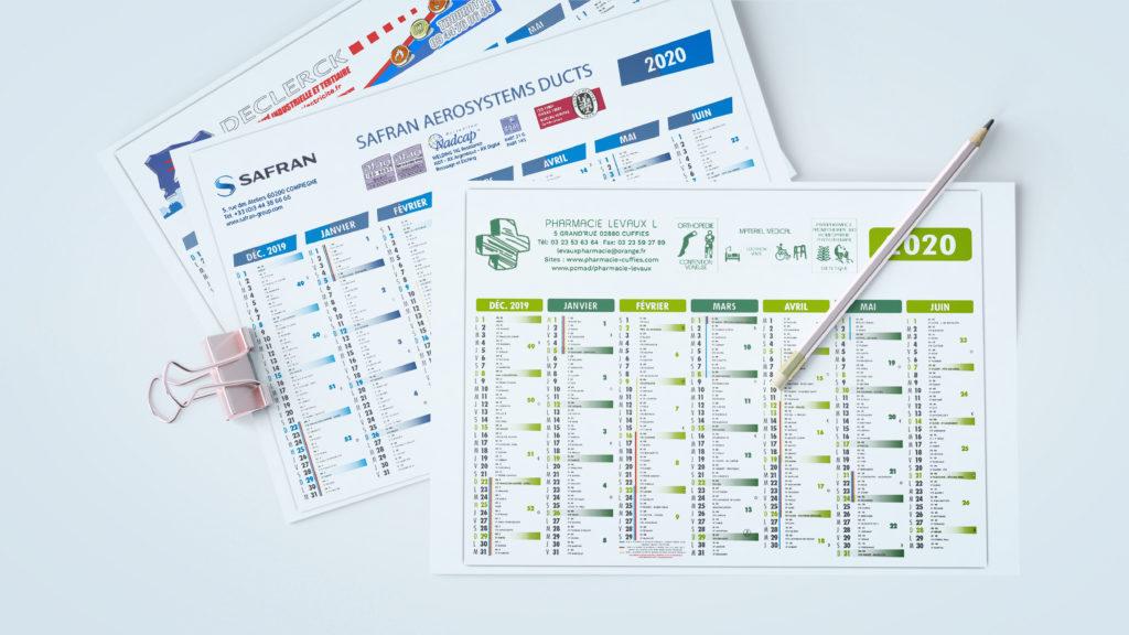 J'ai réalisé des bandeaux pour des calendriers 2020. Différentes enseignes avec des designs différents.