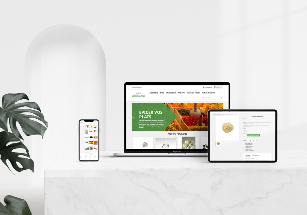 Après le logo, j'ai réalisé le site E-commerce fictif pour la boutique aux épices (PrestaShop)