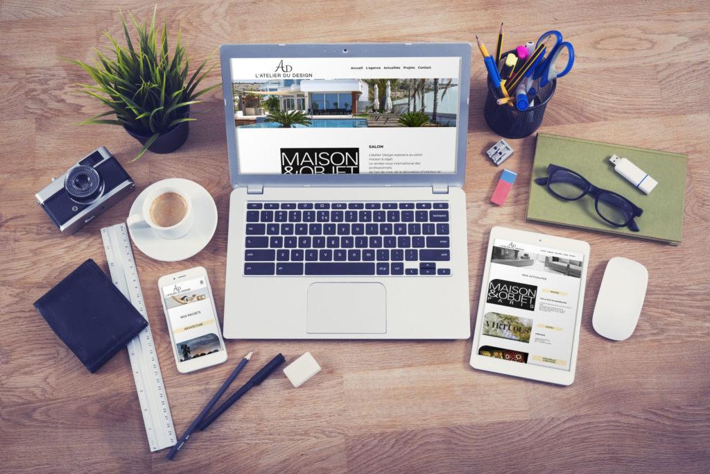 Après le logo, la maquette web, je vous présente le site web de l'atelier du design. Codé en HTML, CSS et PHP